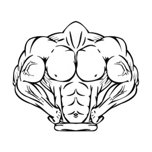Muscular body posing mascot listed in mascots decals.