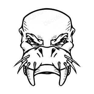 Walrus face with tusks and whiskers mascot listed in mascots decals.