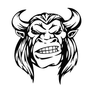 Angry animal man face with horns and long hairs mascot listed in mascots decals.