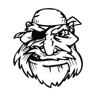 Pirate face with bandana and long beard mascot listed in mascots decals.