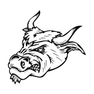 Angry bull face with curved horns mascot listed in mascots decals.