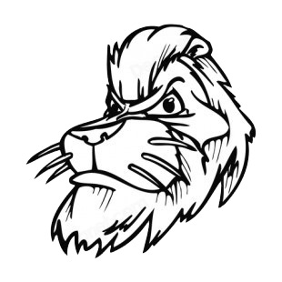 Lion face with whiskers mascot listed in mascots decals.