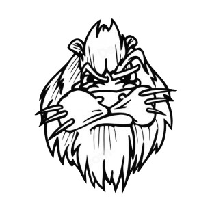 Angry lion face with whiskers mascot listed in mascots decals.