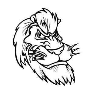 Lion with fierce look face with whiskers mascot listed in mascots decals.