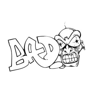 Bad word graffiti with man showing teeths drawing listed in graffiti decals.