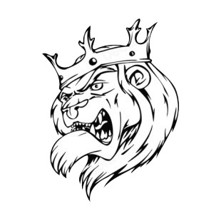 angry lion face with crown mascot mascots decals decal sticker 16152