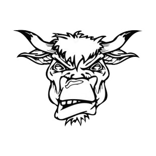 Angry bull face mascot listed in mascots decals.
