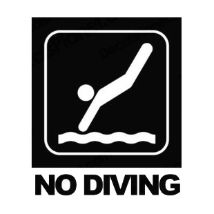 No diving sign with text listed in other signs decals.