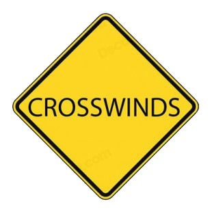 Crosswinds road sign listed in road signs decals.