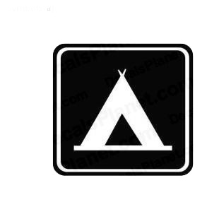 Camping sign symbol listed in miscellaneous decals.