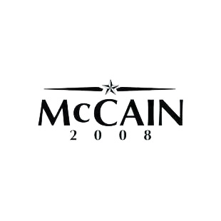 McCain 2008 listed in political decals.