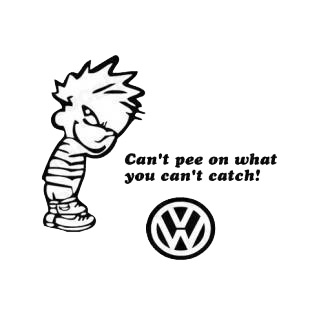 Can't pee on what you can't catch volkswagen listed in funny decals.