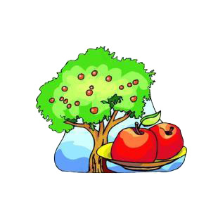 Apple tree with two apples on a dish listed in agriculture decals.