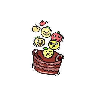 Apples with different faces falling in a basket listed in agriculture decals.