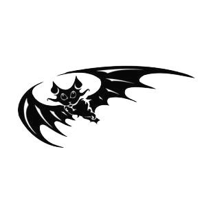 Bat with eyes and wings wide open listed in bats decals.