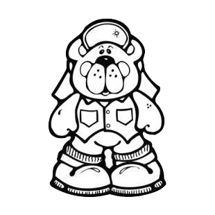 Bear wearing clothes,hat and shoes listed in bears decals.