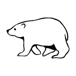 side view of walking polar bear listed in bears decals - Polar Bear Outline