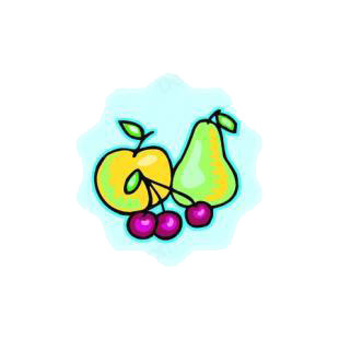 Apple,pear and cherries listed in agriculture decals.