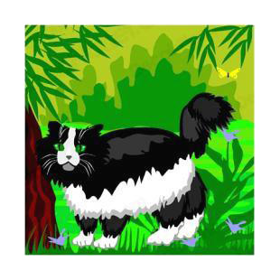 Black and white cat listed in cats decals.
