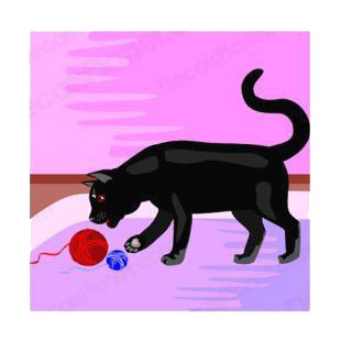 Black cat playing with wool ball listed in cats decals.