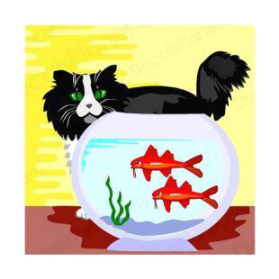 Cat looking at bucket with red fishes listed in cats decals.