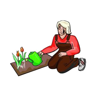 Woman gardener watering plant listed in agriculture decals.