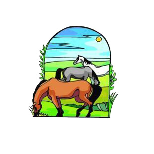 Horses in the pasture listed in agriculture decals.