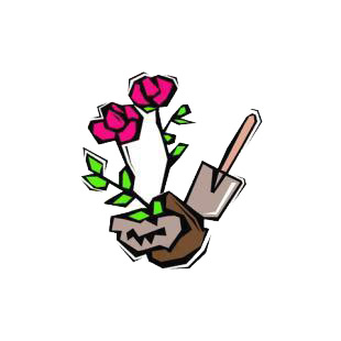Rose plant digging listed in agriculture decals.