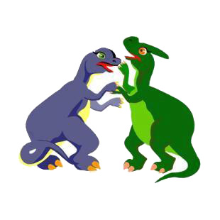 Purple and green dinosaurs fighting listed in dinosaurs decals.