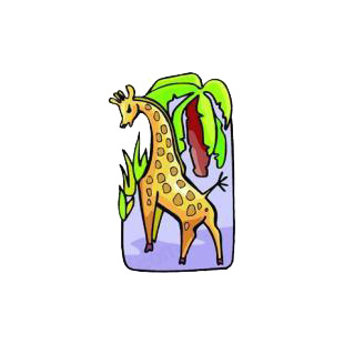 Giraffe listed in cartoon decals.