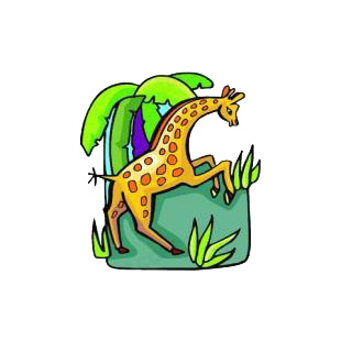 Giraffe on two legs listed in cartoon decals.