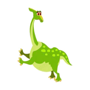 Green dinosaur with legs up listed in dinosaurs decals.
