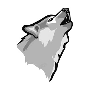 Wolf roaring listed in dogs decals.