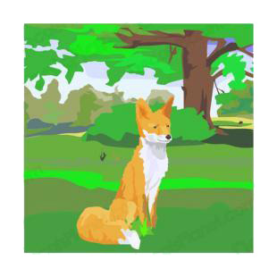 Fox in the nature listed in dogs decals.