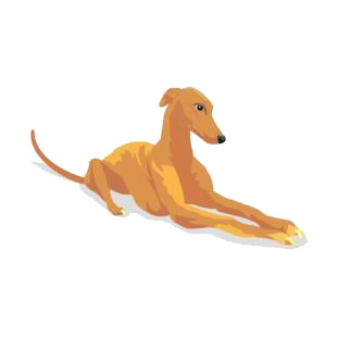 Greyhound laying down listed in dogs decals.
