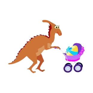 Dinosaur with carriage with egg listed in dinosaurs decals.