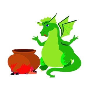 Green dragon with boiling pot listed in dragons decals.