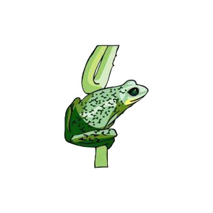 Frog on twig listed in amphibians decals.