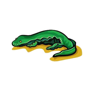 Green lizard listed in amphibians decals.