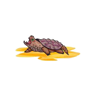 Turtle with mouth open listed in amphibians decals.