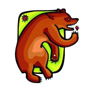 Angry brown bear listed in bears decals.