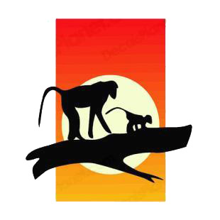 Baboons at sunset listed in monkeys decals.
