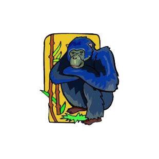 Gorilla crouching listed in monkeys decals.