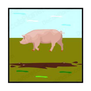 Pig listed in farm decals.