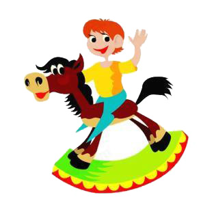 Boy on rocking horse listed in horse decals.