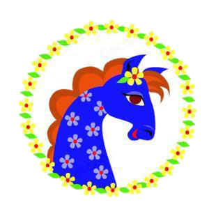 Blue horse with flower logos listed in horse decals.