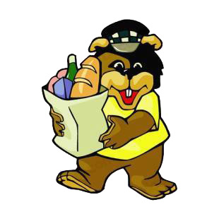 Bear with groceries listed in cartoon decals.