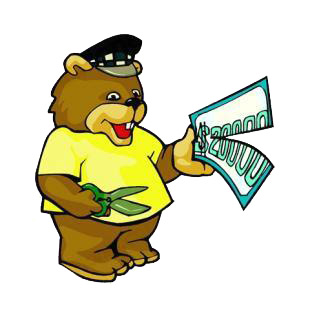 Bear cutting money bill listed in cartoon decals.