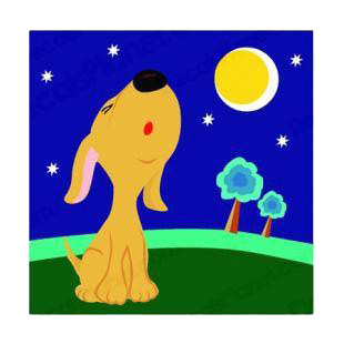 Puppy calling at night listed in dogs decals.