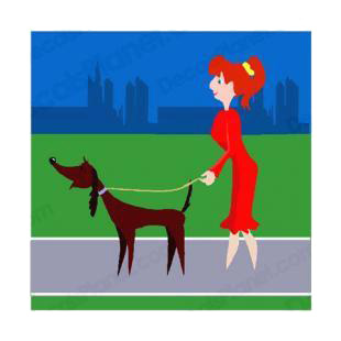 Women walking dog listed in dogs decals.